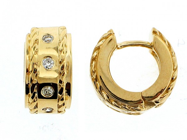 14K Diamond Huggie-Style Earrings