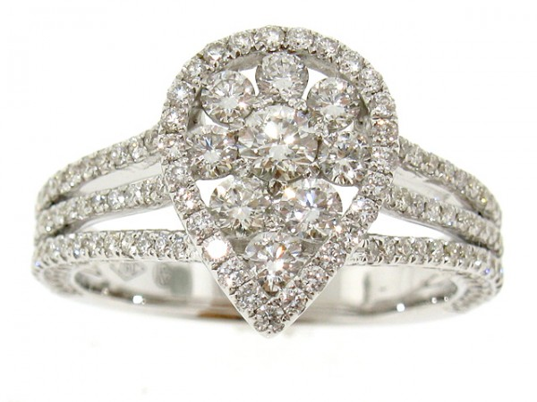 1.35CT Pear Shape Split Shank Diamond Cluster Ring