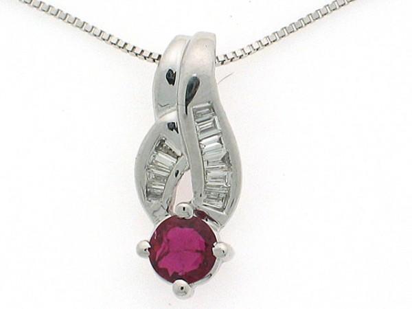 18K Ruby& Diamond Pendant