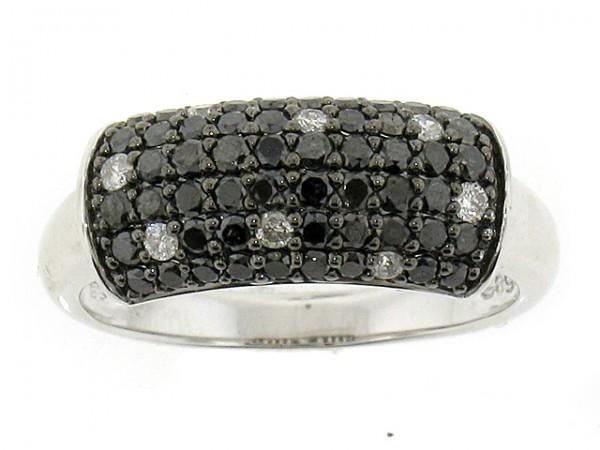 14K Black and White Diamond Ring