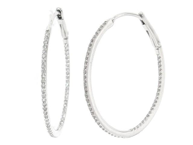 Large White Gold Diamond Hoop Earrings