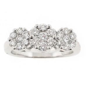18K Past Present Future Floral Diamond Ring