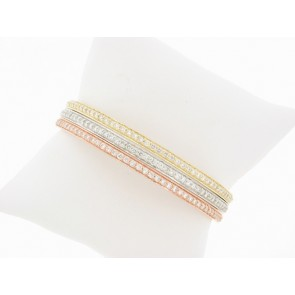 14K Tri-Color Dimaond Bangle Bracelet Set