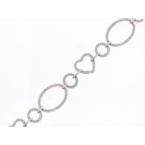 14K Heart and Circle Diamond Bracelet