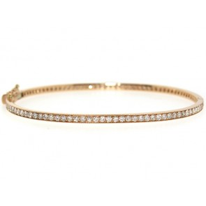 14K Pave Set 100 Diamond Bangle Bracelet, 1.92ct