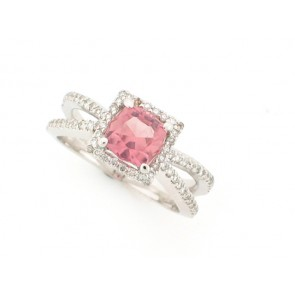 1.25ct Pink Tourmaline and Diamond Ring