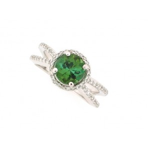 1.45ct Green Tourmaline and Diamond Ring
