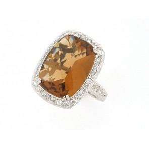 10.37ct Citrine and Diamond Ring