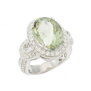 10.28ct Green Amethyst and Diamond Ring