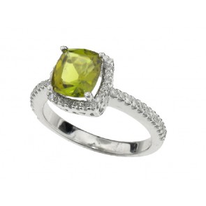 1.50ct Green Tourmaline and Diamond Ring