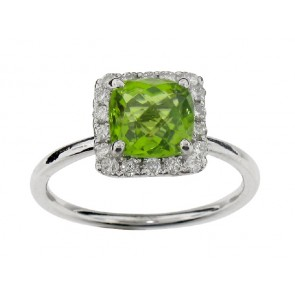 1.90ct Peridot and Diamond Ring