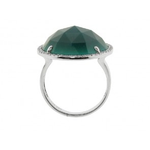 1.77ct Green Onyx and Diamond Ring