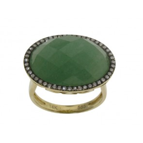 1 Green Adventurine and Diamond Ring