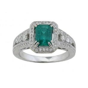 Semi-Mount Engagement Ring for Emerald Cut Diamond