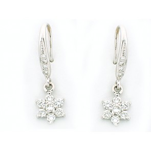 14K White Gold Floral Fashion Earrings