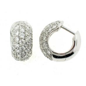 18K Pave Set Diamond Huggie Earrings