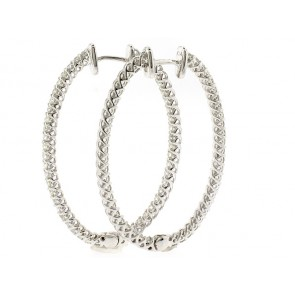 14k Diamond Hoop Earrings, 1.90ct