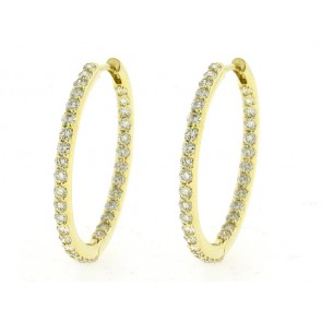 14K Diamond Hoop Earrings, 2.70ct