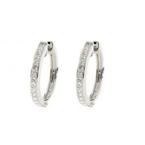 14K Princess Diamond Hoop Earrings, 1.30ct