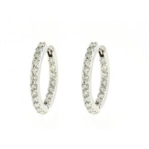 14K Round Diamond Hoop Earrings, 1.55ct
