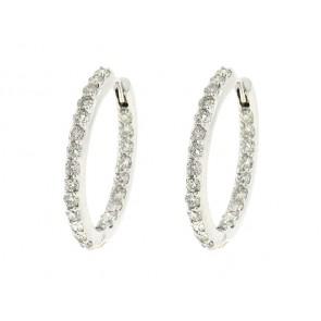 14K Round Diamond Hoop Earrings, 1.87ct