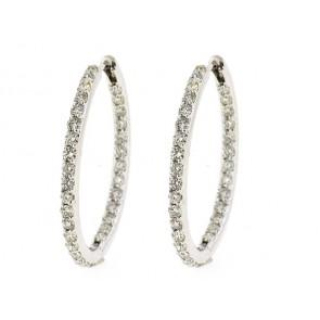 14K Round Diamond Hoop Earrings, 2.76ct