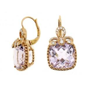 18K Rose Amethyst adn Diamond Earrings