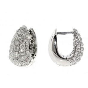 18K Pave Diamond Drop-Hoop Earrings