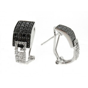 14K Black and White Diamond Earrings
