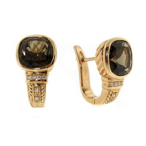 14K Rose Gold Smokey Topaz and Diamond Earrings