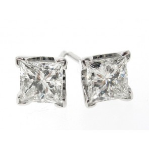 14K Princess Cut Diamond Studs, 1.09ct Total Weight