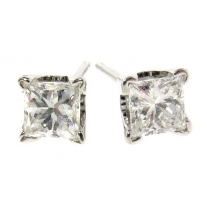 14K Princess Cut Diamond Studs, 0.73ct
