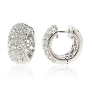 2.59ct Diamond Pave Huggy Hoop Earrings