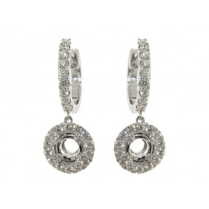 Round Halo Diamond Hoop Earrings