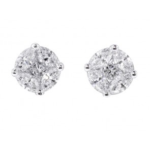 Marquise and Round Diamond Cluster Stud Earrings