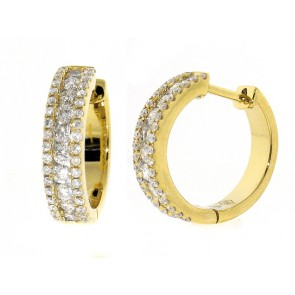 0.63ct Huggy Style Diamond Hoop Earrings