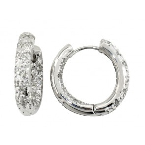 14K Pave Diamond Huggie Earrings