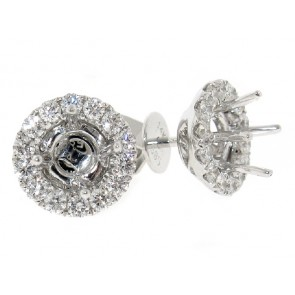 18K Diamond Stud Earring Halo