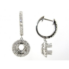 18K White Gold Dangling Diamond Earrings