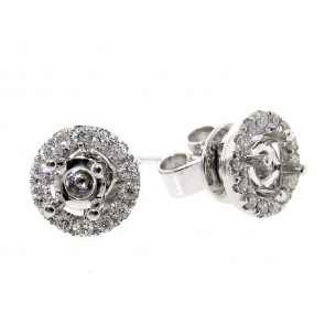 18K Diamond Stud Halo Earring