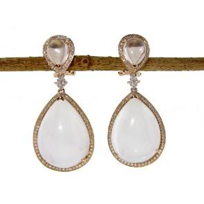 White Datolite and Diamond Earrings