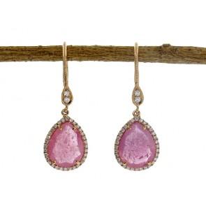 Rose Gemstone and Diamond Earrings