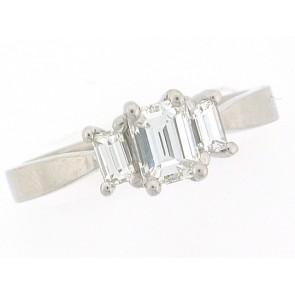 Platinum 3 Emerald Cut Engagement Ring