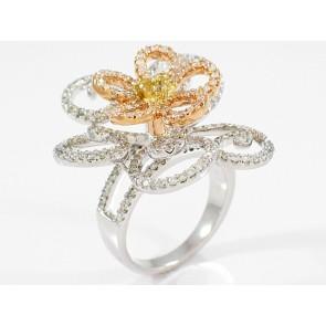 18K white and rose gold diamond flower ring