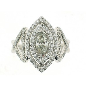 18K Marquise Art Deco Engagement Ring
