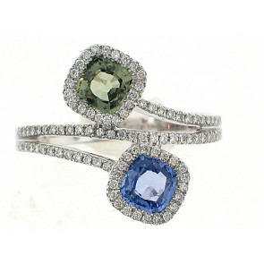 14K Sapphire and Tourmaline Right Hand Ring