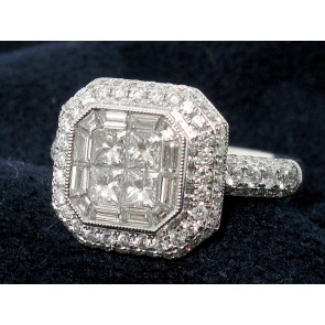 18K Octogon Cluster Diamond Ring