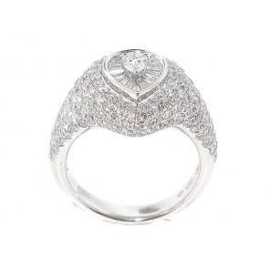 18K Pear Shape Diamond Pave Ring