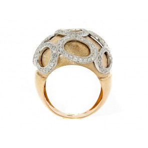 18K Textured Rose Gold and Diamond Dome Ring
