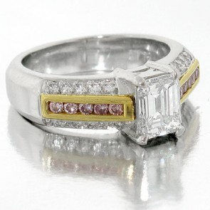Platinum Engagement Ring with Emerald Diamond and